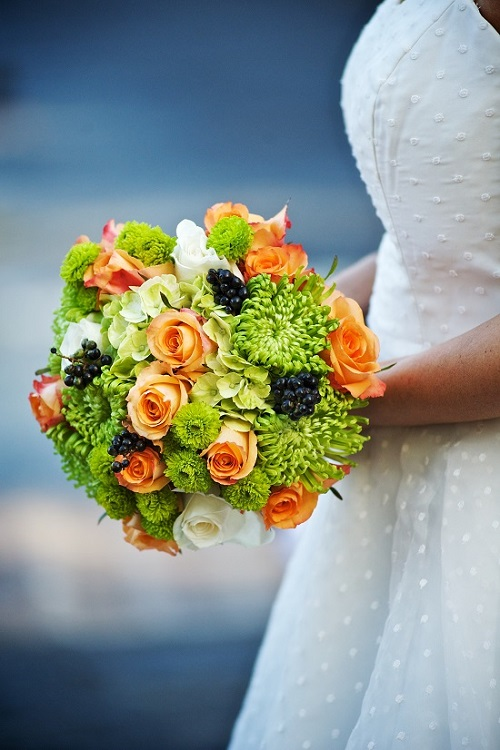 green-orange-navy-bridal-bouquet
