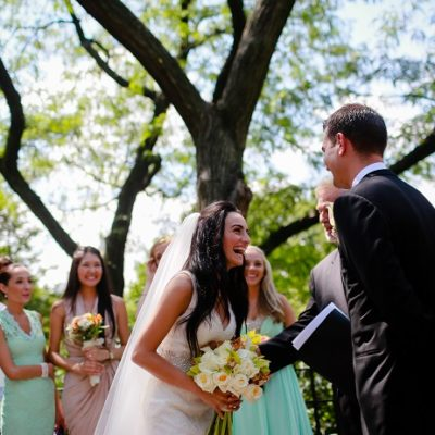 Summer Wedding in Central Park at Shakespeare Garden
