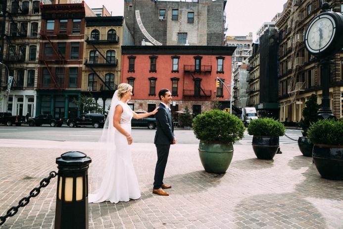 First Look Wedding Photo in Downtown Manhattan
