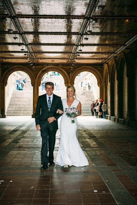 Bride Walk Down the Aisle Bethesda Fountain Arches