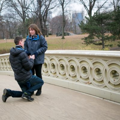 Surprise Proposal at Bow Bridge, Central Park