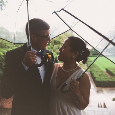 Rainy Day Fall Wedding at the Wisteria Pergola, Conservatory Garden