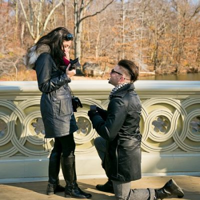 Surprise Proposal in Central Park, Bow Bridge