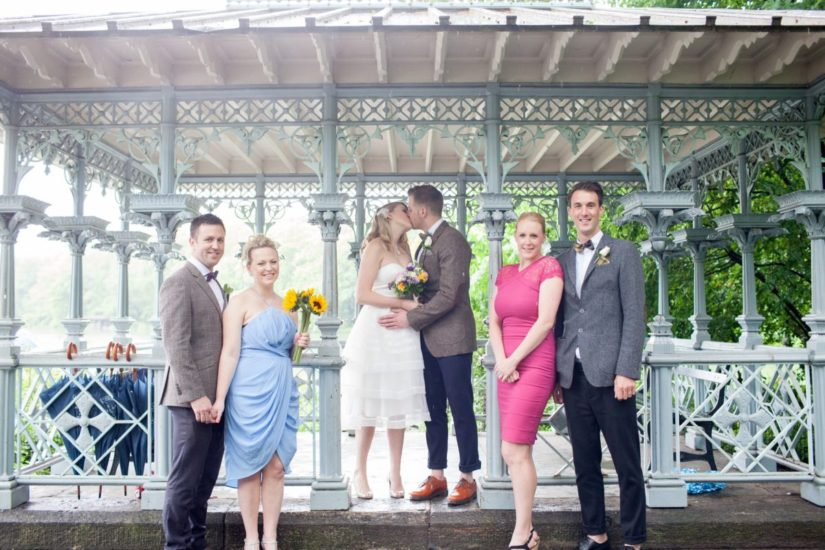 Wedding party in front of the Ladies Pavilion in Central Park