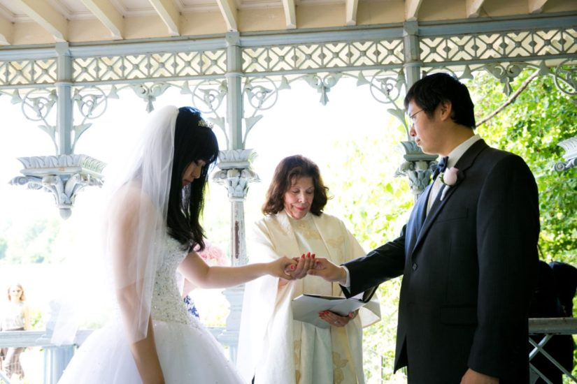 Bride and groom exchanging vows inside the Ladies Pavilion