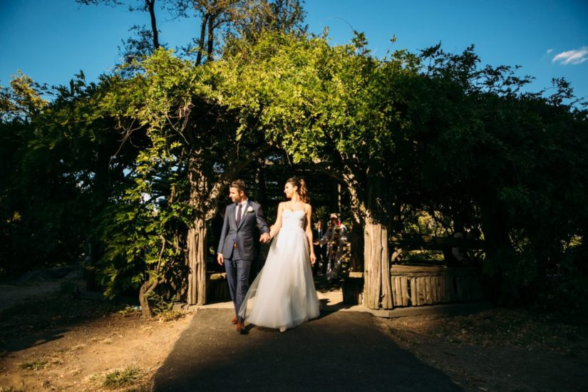 Newlyweds exiting Cop Cot during golden hour