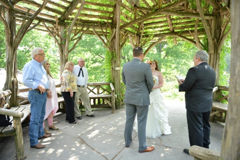 Couple exchanges vows during Central Park wedding ceremony at Dene Summerhouse
