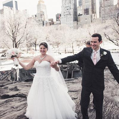 Winter Wedding in Central Park on Umpire Rock