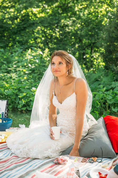 Bride at Picnic Wedding Reception Central Park
