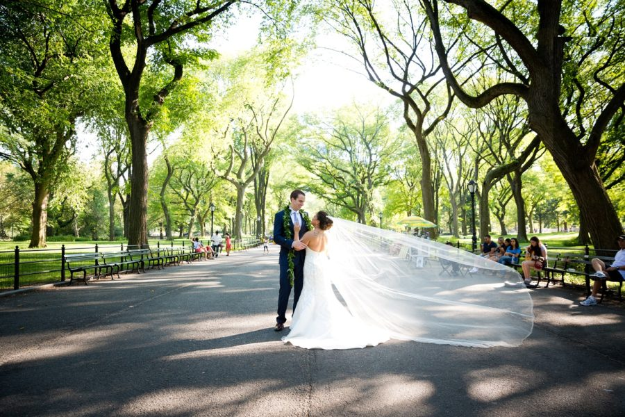 Wedding couple poses in The Mall Central Park