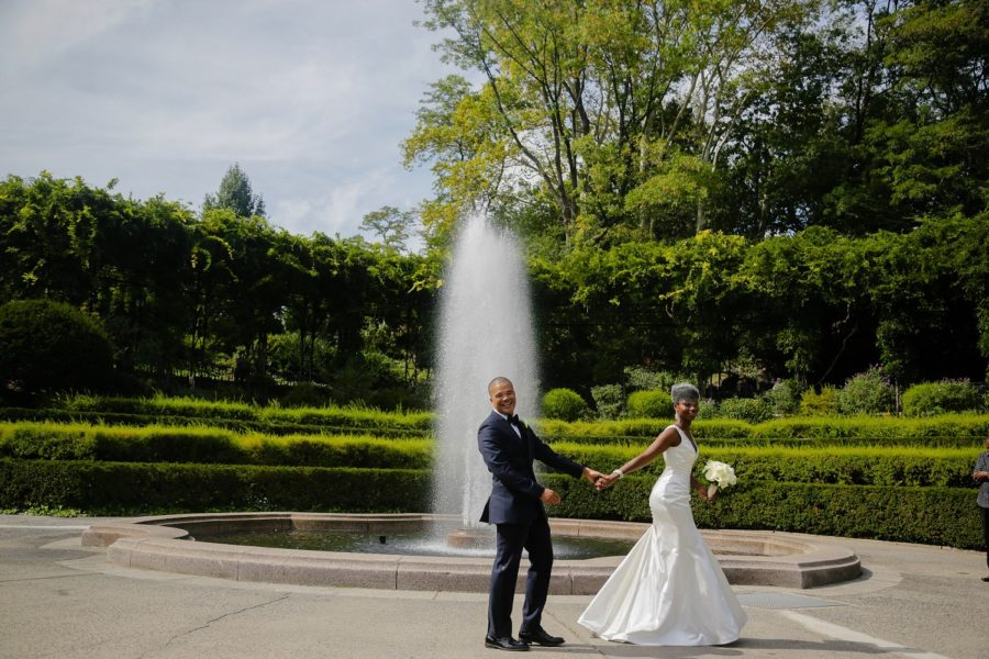 Wedding Couple in front of Italian Garden Fountain Conservatory Garden